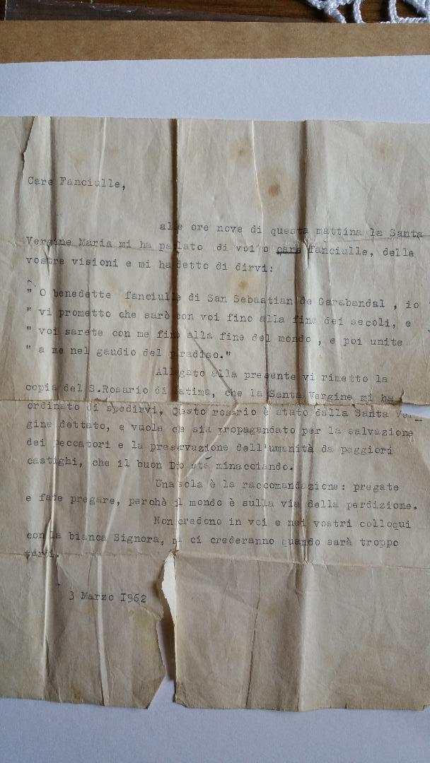 Padre Pio Letter original Doc