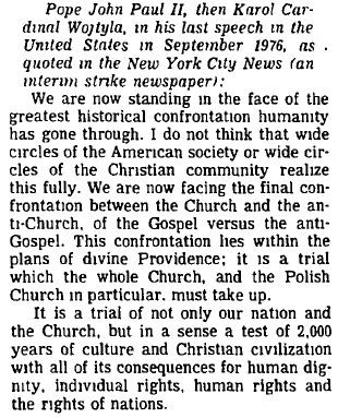 Quote from New York City News re JPII Prophesy
